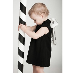 Black woolen ribbon dress