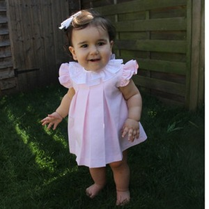 Pink piquet dress with bloomers